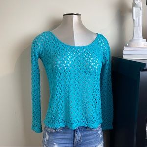 Black poppy teal pullover sweater top SZ M